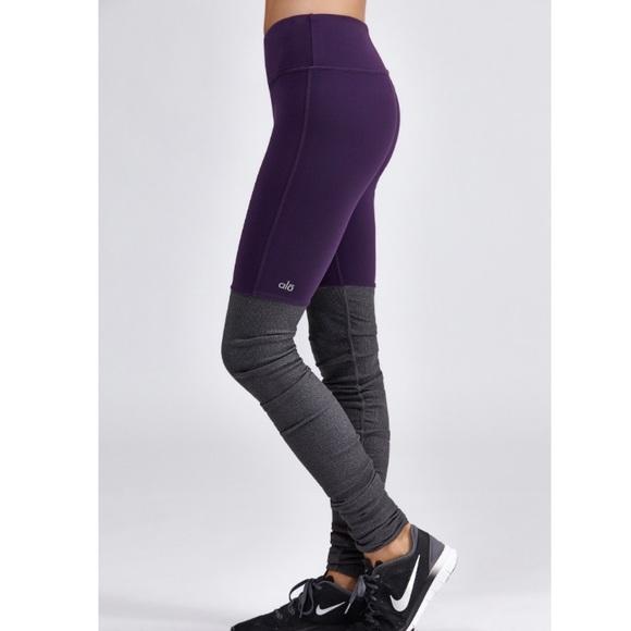 64282646d143c ALO Yoga Pants | Goddess Ribbed Leggings Purple Grey | Poshmark